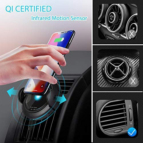 Samsung Note 9//S9//S9+//S8//Note 8 15W Qi Fast Charging Car Phone Holder with QC3.0 Car Charger Windshield Dashboard Air Vent Mount for iPhone Xs//Max//X//XR//8//8 Plus DINTO Wireless Car Charger Mount