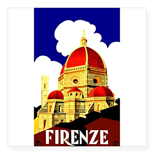 Italy Square - CafePress - Vintage Florence Italy Travel Sticker - Square Bumper Sticker Car Decal, 3