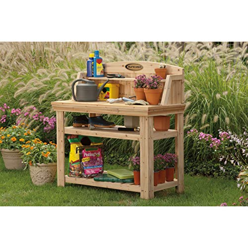 Suncast Cedar Freestanding Bench Ideal for Garages, Sheds, Basements – Organize Garden Equipment Supplies, Pots, Watering Cans – Hardware Included