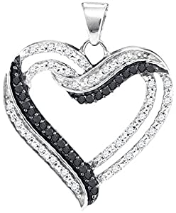 Diamond Pendant 10kt White Gold Black Colored Heart Outline 1/3 Cttw(I2/i3, i/j)