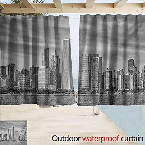 Exterior/Outside Curtains,Chicago Skyline Black and White Filtered Photo of Waterfront Cityscape on a Cloudy Day Print,Blackout Draperies for Bedroom,W63x63L Inches,Grey -