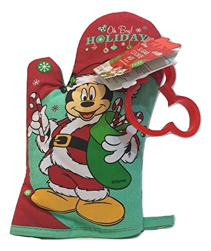 Disney's Mickey Mouse Christmas Sugar Cookie Kit - Comes with Sugar Cookie Mix, Mickey Mouse Cookie Cutter and Kitchen Oven Mitt Pot Holder Craty Cooking Kits by Brand Castle
