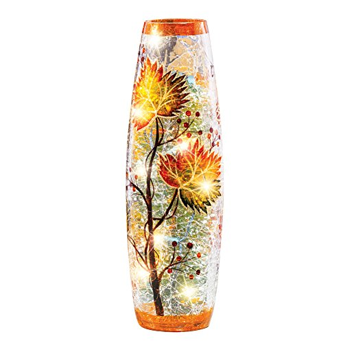 Collections Etc Fall Leaves Decorative Table Lamp with Cracked Glass Hurricane Cover, Yellow, Orange, Green Brown Home…
