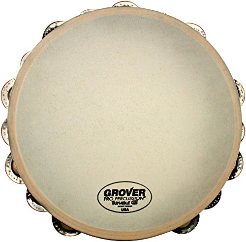 Grover Pro Synthetic Head Tambourine 10 in. Double Row German Silver Jingles by Grover Pro (Image #1)