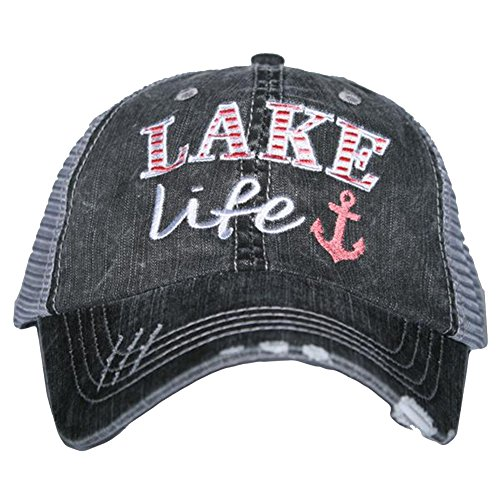 Lake Life Women's Trucker Hats Caps by Katydid, Coral, One Size (Girl Lake)