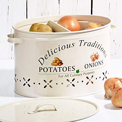 Vintage Canister for Potatoes and Onion Storage (WHITE)