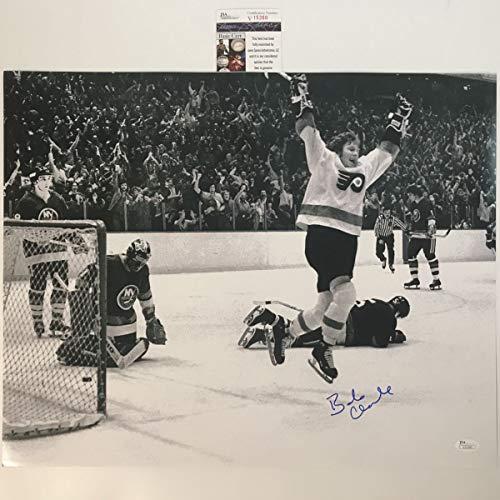 Autographed/Signed Bobby Bob Clarke B&W Philadelphia Flyers 16x20 Hockey Photo JSA COA