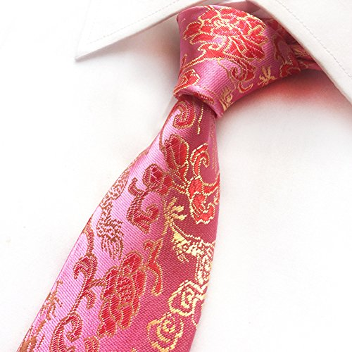 Secdtie Mens Classic Tie Dragon Paisley Jacquard Woven Party Necktie Pink (Chinese Mens Dragon)