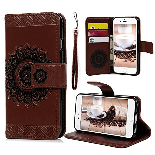 Iphone 6S 6 Wallet Case 4 7 Inch  Yokirin Pu Leather Henna Mandala 3D Relief Floral Embossed Folio Flip Full Protective Cover With Credit Card Holder Kickstand Magnetic Closure For Iphone 6 6S  Brown