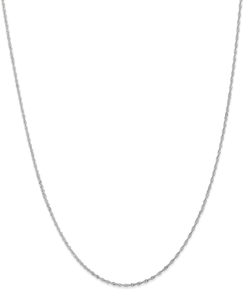 14k White Gold 1.1mm Link Singapore Chain Necklace 16 Inch Pendant Charm Fine Jewelry Gifts For Women For Her