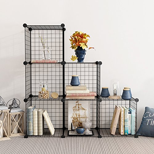 wire storage cubes modular shelving unit diy metal grid closet organizer system ebay. Black Bedroom Furniture Sets. Home Design Ideas