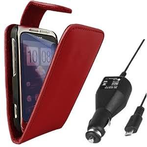 ONX3 HTC Wildfire S Triple Caso del tirón del cuero Red Pack + LCD Protector de pantalla + 12v Cargador de Coche
