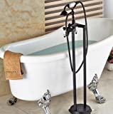 GOWE Modern Oil Rubbed Bronze Bathroom Floor Mounted Tub Filler W/ Hand Shower Sprayer Ceramic Style Shower
