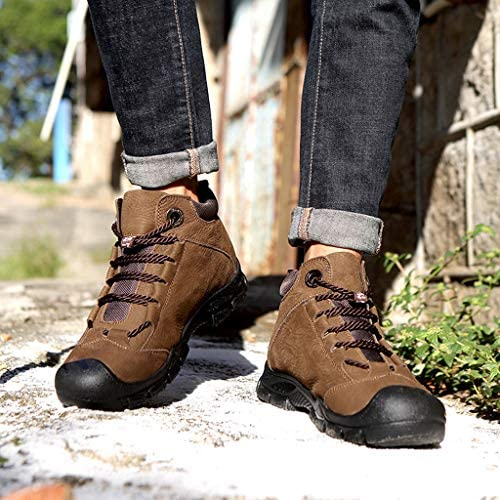 VonVonCo High-Top Hiking Boots for Men High-Top Snow Boots Winter Plus Velvet Motorcycle Sneaker Boots