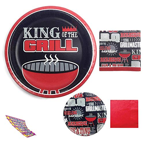 BBQ Themed Party Supplies Includes 24 King of the Grill Banquet Plates, 40 Lunch Size, 40 Matching Napkins and 30 Red -