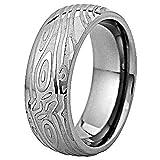 Titanium Band 8mm Woodgrain Texture Etch Dome Top Wedding Engagement Ring TKJ