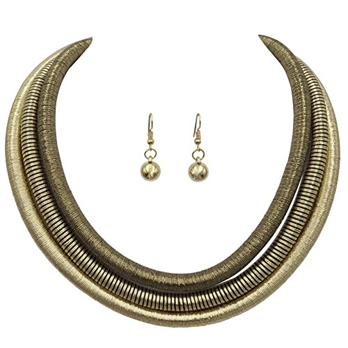 tallic Thread Statement Necklace and Dangle Earring Set (Gold Tones with Black) ()