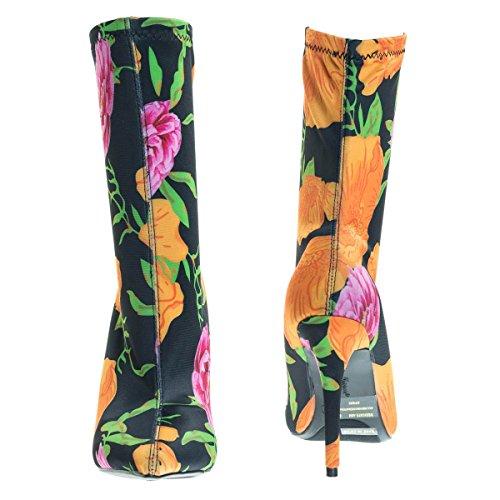 Punta A Punta Dress Pump Con Elastico Stivaletto Alla Caviglia In Floral & Glitter Orange Multi