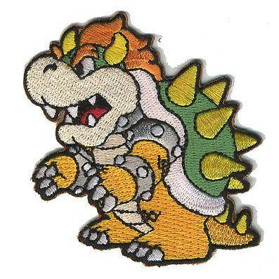 - Bowser Patch Embroidered Iron on Badge Applique Costume Cosplay Mario Kart / Snes / Mario World / Super Mario Brothers / Mario Allstars