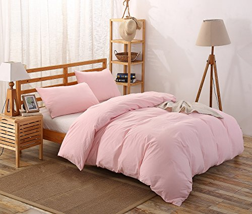 Colourful Snail 100-Percent Natural Washed Cotton Duvet Cover Set, Ultra Soft and Easy Care, Fade Resistant, Queen/Full, Blush (Duvet Pink)