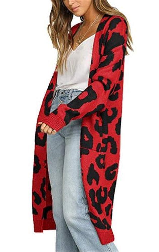 Ibeliver Women's Leopard Knitting Cardigan Open Front Warm Sweater Outwear