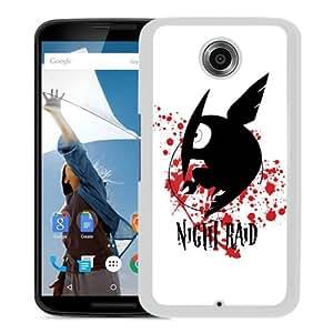 Fashionable And Unique Designed Case For Google Nexus 6 Phone Case With Akame ga Kill Night Raid White