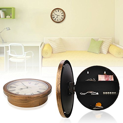 Haihuic Storage Wall Clock Indoor Use as Secret Hidden Compartment with Hidden Container Box For Money and Jewelry Stora