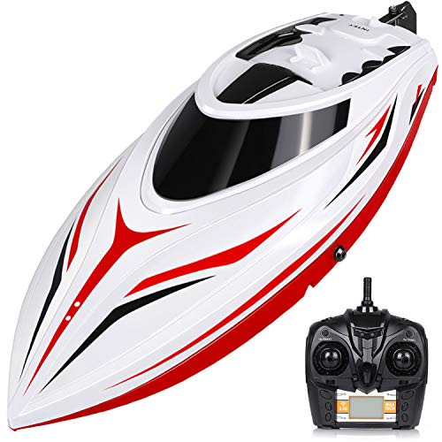 (INTEY RC Boats - H105 RC Boat for Adults and Kids 43.7CM Large Remote Control Boats for Pools & Lakes with 2 1500MAH Charged Battery)