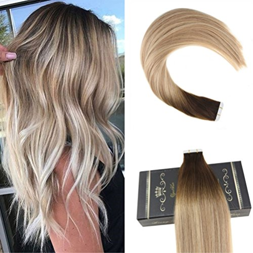 Ugeat 16 Inch Remy Tape in Hair Extensions Human Hair 50g 20pcs Dark Browm Fading to Ash Blonde and Medium Blonde Glue in Tape Hair Extensions
