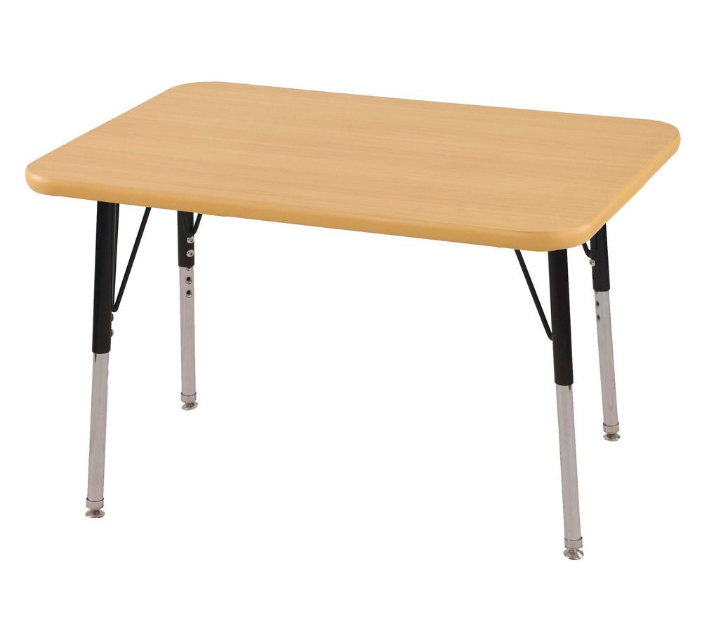 ECR4Kids T-Mold 24'' x 36'' Rectangular Activity School Table, Standard Legs w/ Swivel Glides, Adjustable Height 19-30 inch (Maple/Black)