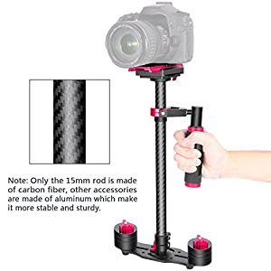 Neewer Carbon Fiber 24 inches/60 centimeters Handheld Stabilizer with 1/4 3/8 inch Screw Quick Shoe Plate for Canon Nikon Sony and Other DSLR Camera Video DV up to 6.6 pounds/3 kilograms(Black+Red)