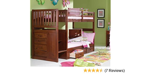 Amazon.com: Stair Step Bunk Bed With 3 Drawer Bunk Pedestal: Kitchen U0026  Dining