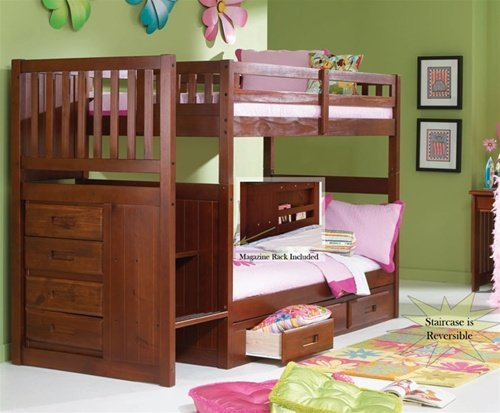Amazon Com Stair Step Bunk Bed With 3 Drawer Bunk Pedestal Kitchen