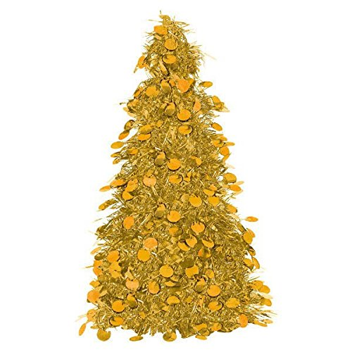 Amscan Christmas Centerpiece Small Tree, 10', Tinsel, Gold 10 AMI 240597