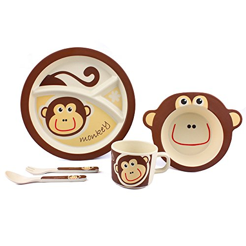 - Kids Monkey Meal Set Bamboo Baby 5 Piece Dinnerware Set for Toddlers and Little Kids