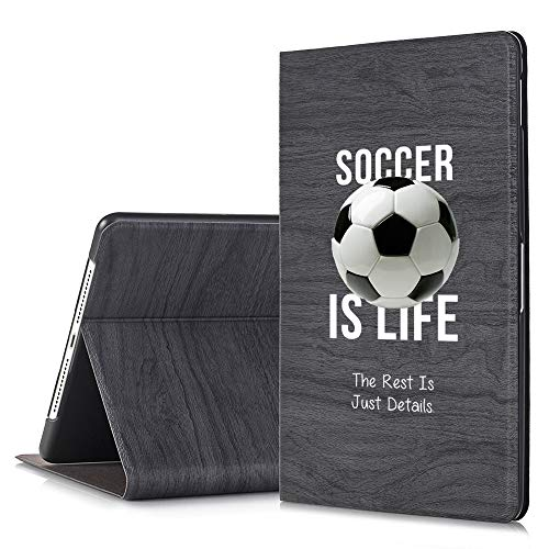 [Inkmodo] - Black Slim Tree Texture Stand Case for iPad Pro 11 - Soccer is Life Soccer Quote - Design Printed Full Protective Cover with Two Angle Stand.