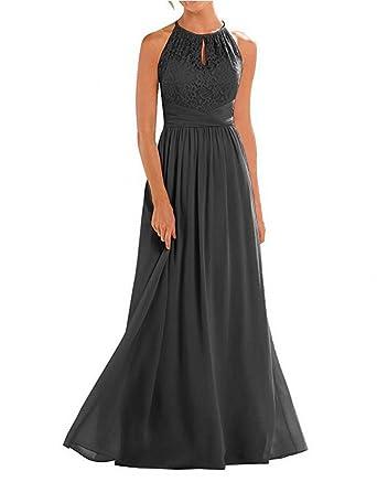 d2eeb6016b05a Botong Black Lace Top Long Bridesmaid Dress Halter Chiffon Prom Dress Black  US2