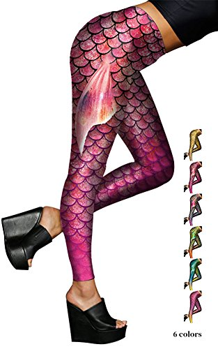Scale Print (Alaroo Women Mermaid Leggings with Fish Scale & Fin Print for Girl Rose Red S)