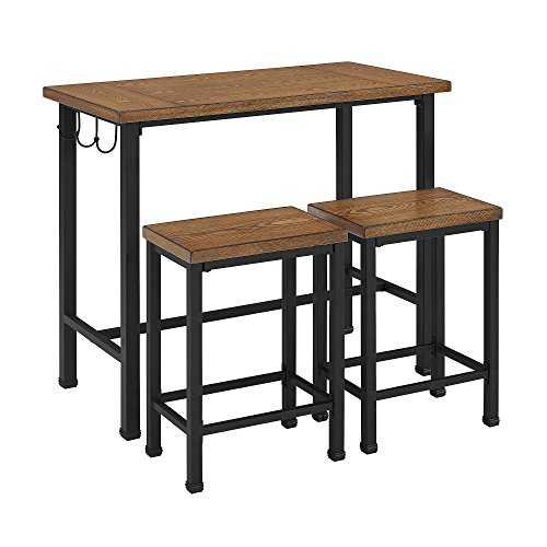 Linon Home Decor Products Pub Table Bar Set 2 Stools Chairs 3 Piece Kitchen Breakfast Nook Dining Bistro by 25 Home Decor (Image #5)