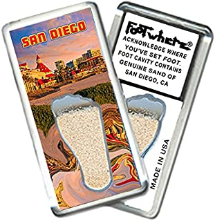 "product image for San Diego""FootWhere"" Fridge Magnet (SD202 - Dusk). Authentic Destination Souvenir acknowledging Where You've Set Foot. Genuine Soil of Featured Location encased Inside Foot Cavity. Made in USA."