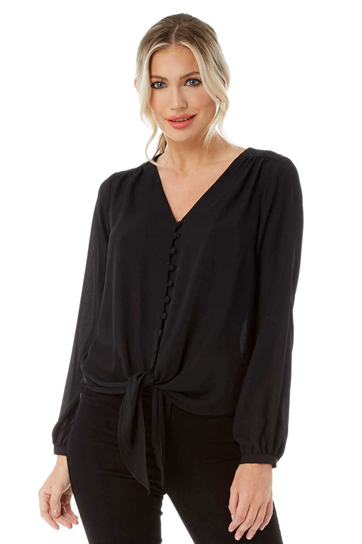 Roman Originals Women V-Neckline Button Front Blouse