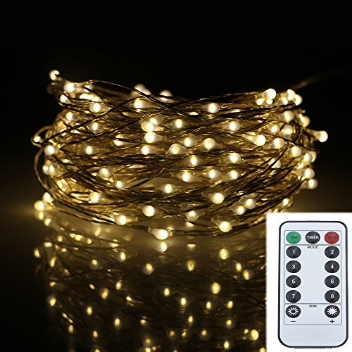 Battery Powered LED String Lights Outdoor, RUICHEN 66ft 200LED Copper Wire Starry String Lights Battery Powered with Remote Control for Outdoor, Indoor, Wedding, Christmas Party(Warm White)