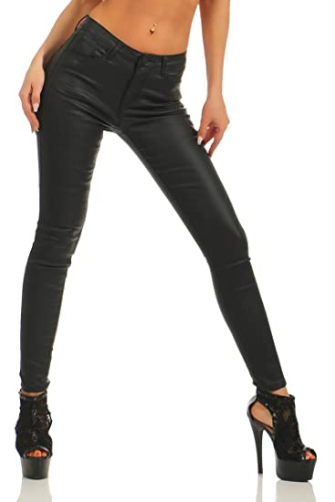 11345 Fashion4Young Damen Treggings Leggings Röhrenhose Leder Look Lederimitat Slim Fit pants