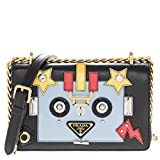Prada Women's Robot Motif Calf Leather Handbag Blue