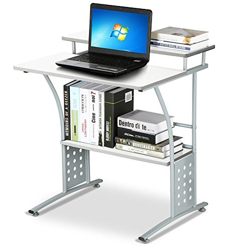 Topeakmart White Metal Computer Desk Small Spaces Laptop - Small Cheap Computer Desk