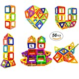 Magnetic Blocks STEM Educational Toys Magnet Building Block Tiles Set for Boys and Girls by Coodoo-56pcs