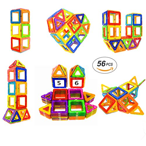 Soyee Magnetic Blocks   Stem Learning Toys   Educational Construction Magnetic Building Tiles Set For 3 4 And 5  Year Old Boys   Girls   Creative Fun Kit Magnet Toys Gift For Kids 56Pcs
