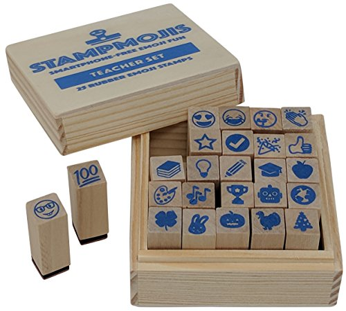 Emoji Teacher Stamps by Stampmojis, 25 Pc Wood & Rubber Teacher Stamp Set (Teacher Set)