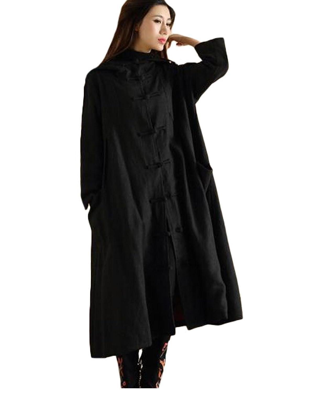 Minibee Women's Button Hoody Outwear Coat with Pockets Fit US M-XL