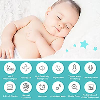 "Baby Monitor, Video Baby Monitor 2.4""HD LCD Screen, Baby Monitors with Camera and Audio Night Vision,Support Multi Camera,ECO Mode,Two Way Talk Temperature Sensor,Built-in Lullabies"